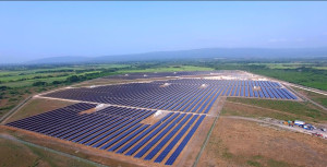 Aerial view of 154-acre Content Solar PV power plant in Clarendon, the first utility-scale solar PV plant in Jamaica.